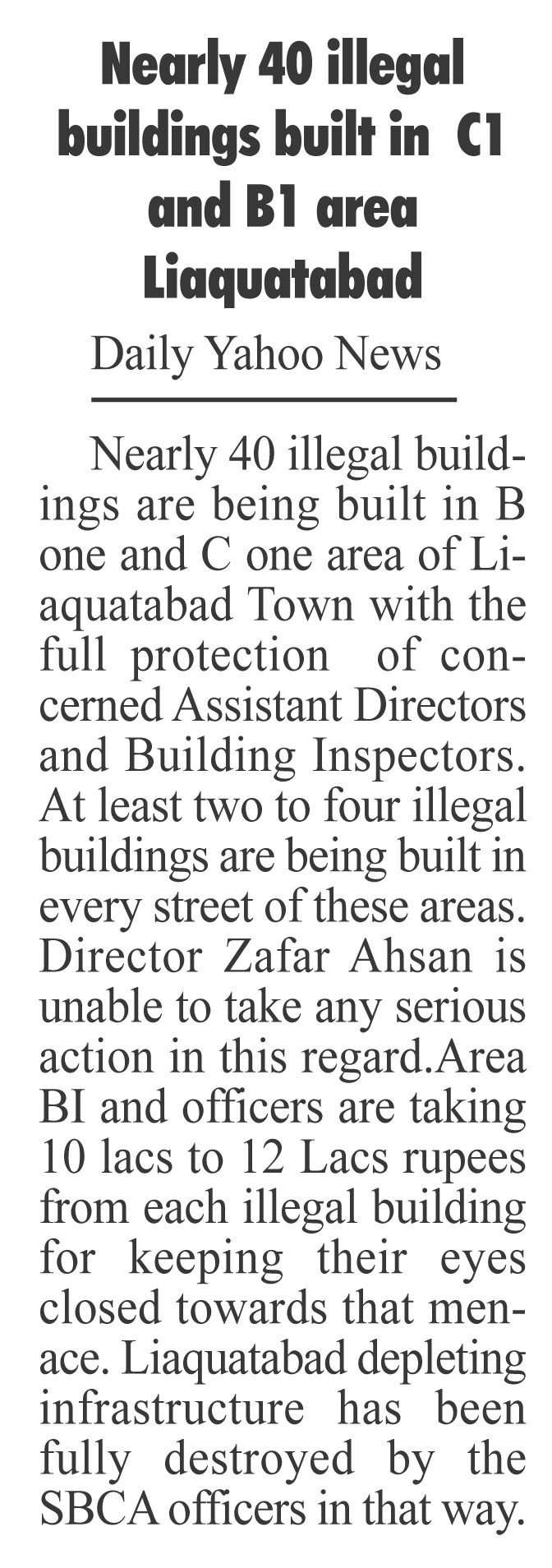 Many dozens illegal building being built in Liaquatabad C1 and B 1 area