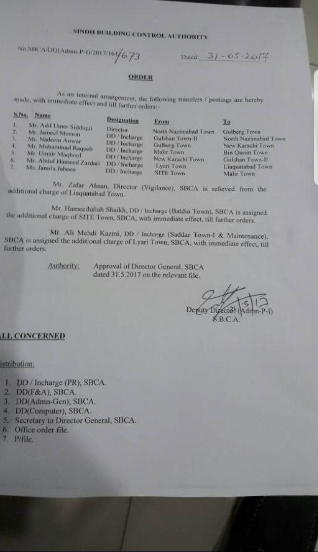 Seven Director of SCBA have been transferred out and post on different Towns