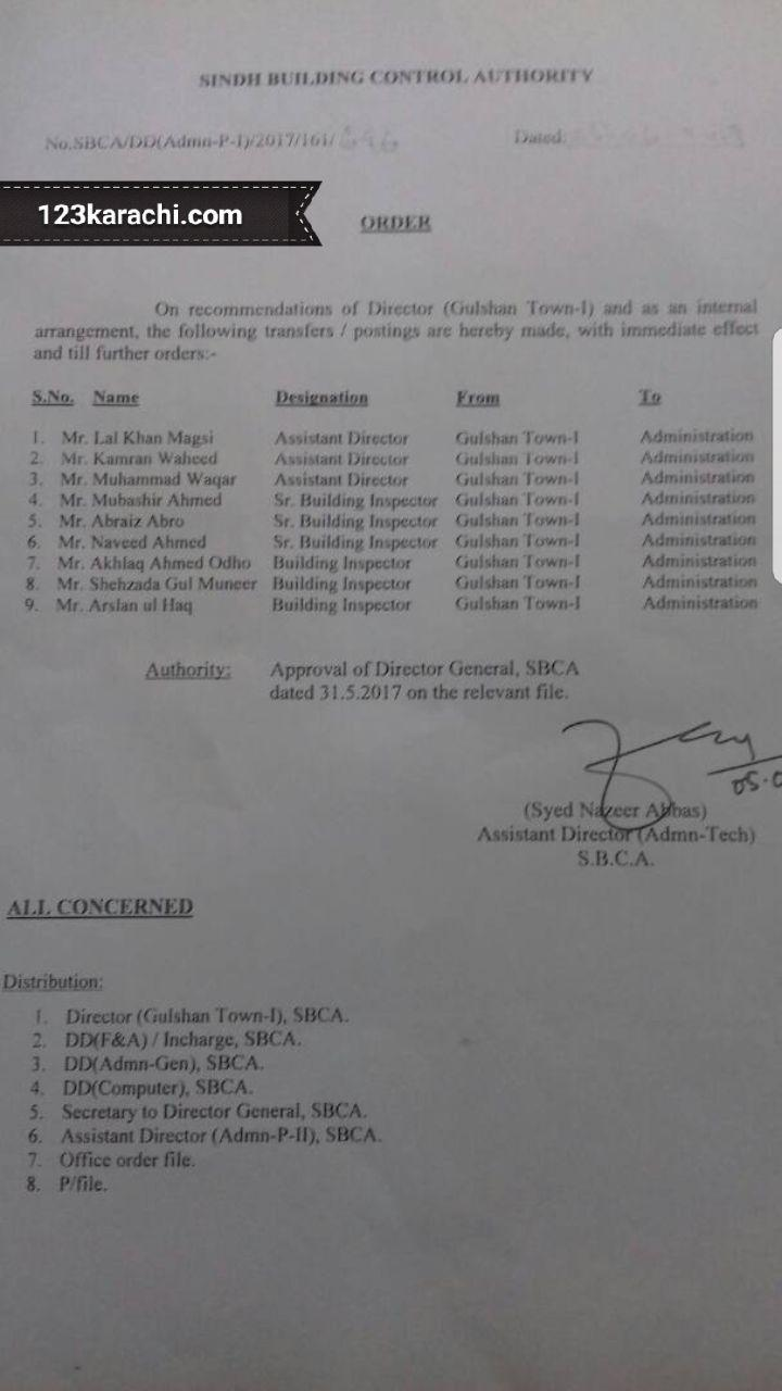 9 officers including ADs, SBIs and BIs  transferred out from Gulshan 1 to Administration