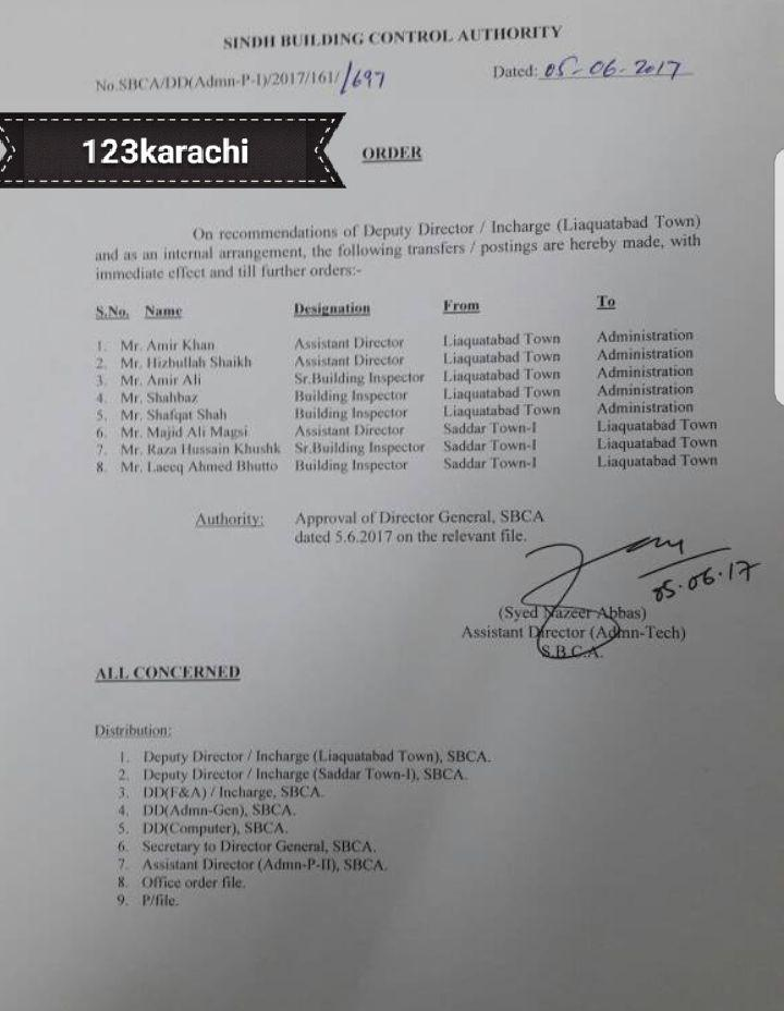 5 officers transferred out of Liaquatabad Town, while three officers posted in LIaquatabad  from Saddar 1 ,on 5th May 2017