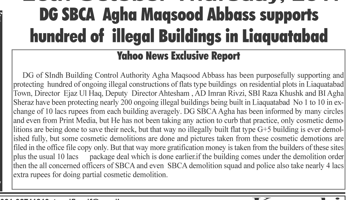DG SBCA supports hundred of illegal buildings in Liaquatabad