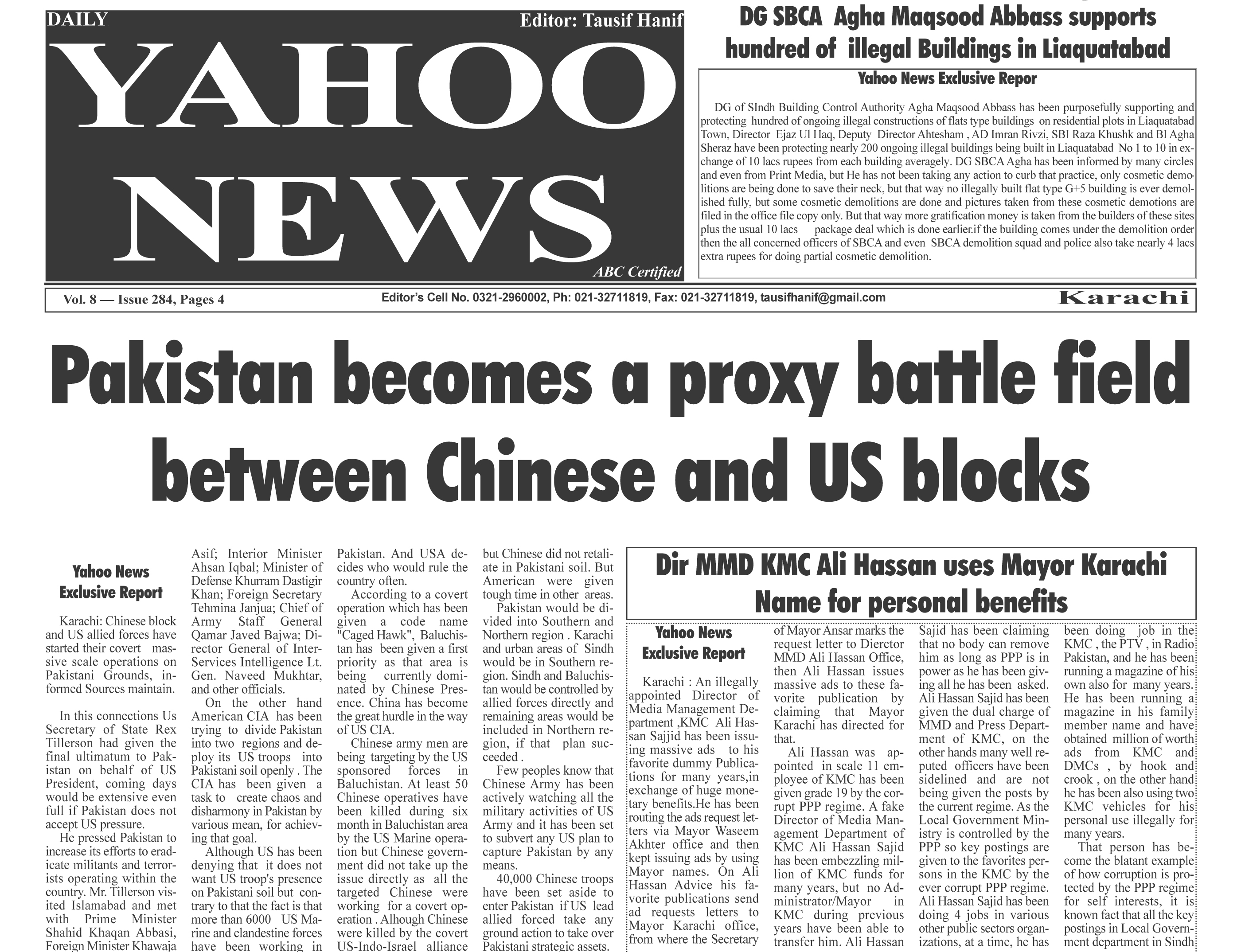 Daily Yahoo News metro Edition dated 26-10-2017