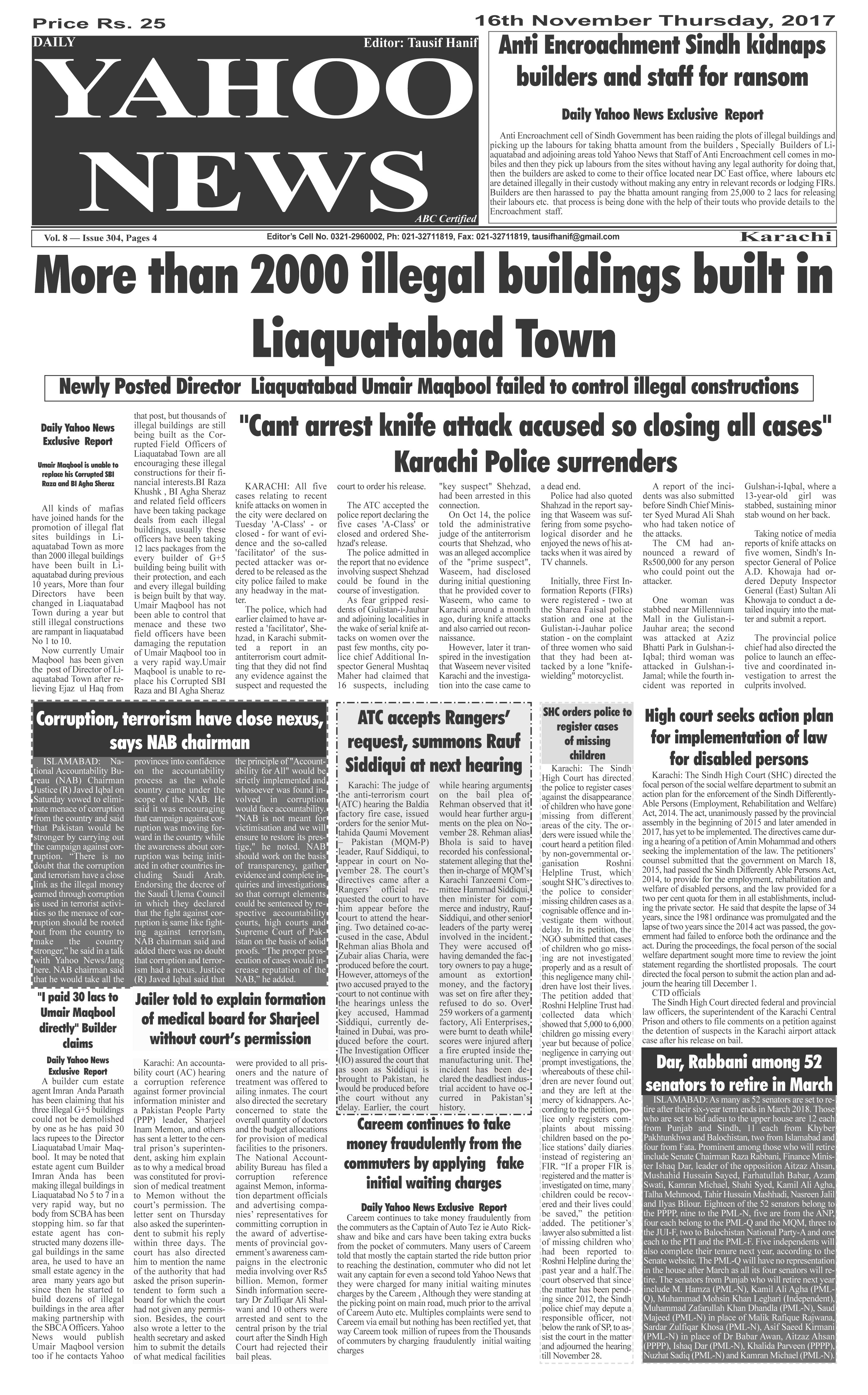 Yahoo News special Metro Edition dated 16-11-2017