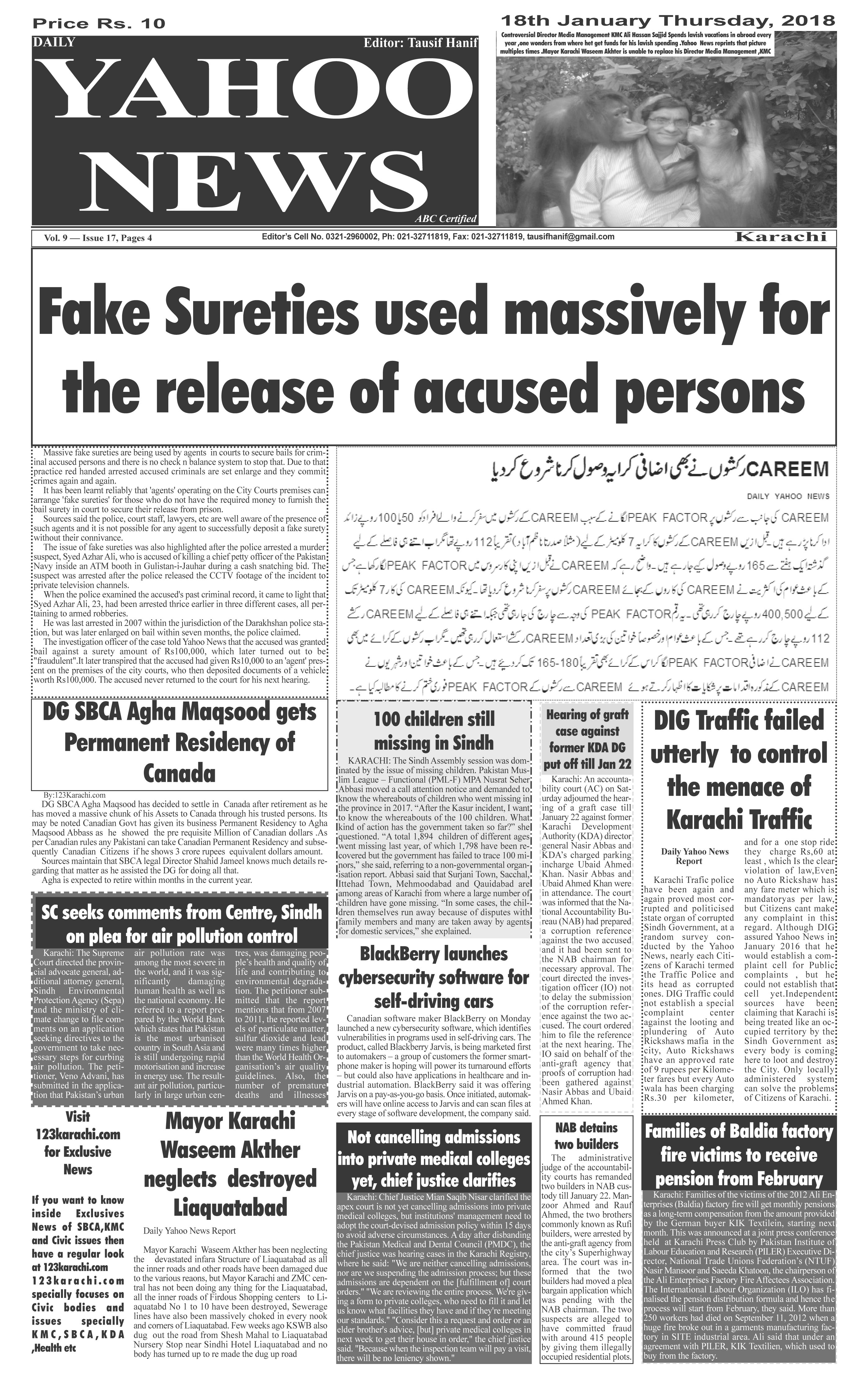 Yahoo News Special Metro Edition dated 18-01-2018