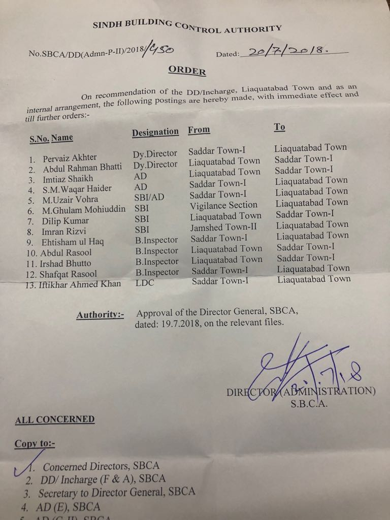 Various officers of Jamshed , Liaquatabad and Saddar towns replaced on 20-07-2018